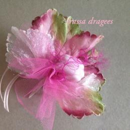 Ballotin Dragées de fleur rose et verte