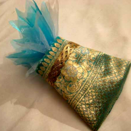 Turquoise doré 32 ballotins tissu