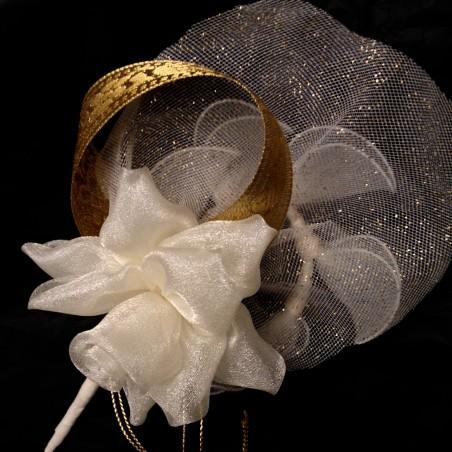 Bonbonnière fleur rose organdi ivoire pack de 28 pièces