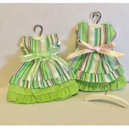 Robe pochon bayadère verte