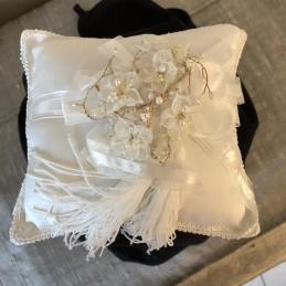 Mariage coussin perles porte alliances